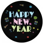 Happy New Year Neon 58mm Keyring